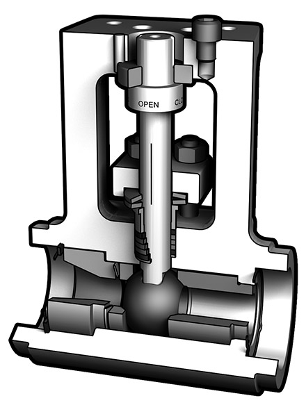 Cutaway illustration of MOGAS iRSVP ASME 600 / 900 / 1500 limited class valve
